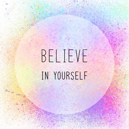 Believe in yourself. Inspirational quote on colorful spray paint